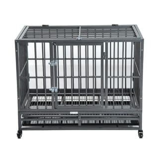 "PawHut 36"" Heavy Duty Steel Dog Crate Kennel Pet Cage w/ Wheels"