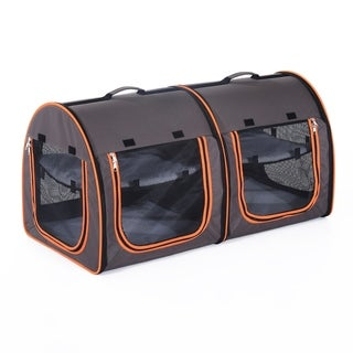 Pawhut Soft-Sided Portable Dual Compartment Pet Carrier