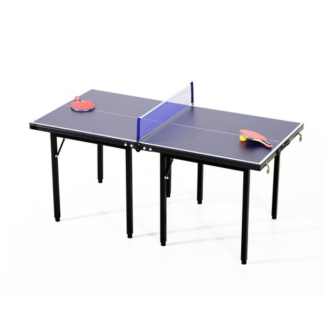 Aosom Folding Indoor or Outdoor Table Tennis Table Set - Dark blue