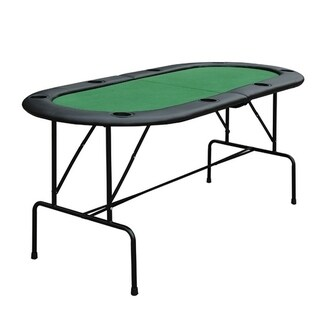 HomCom Oval Folding Blackjack and Poker Table with Eight Cup Holders