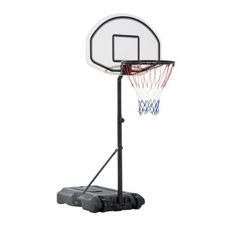 Aosom Portable Swimming Pool Basketball Hoop, 30 Inch Backboard with a Telescoping Height & All-Weather Build