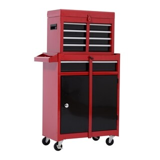 HomCom Rolling Tool Cabinet Chest with Five Drawers and Removable Tool Box