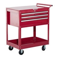 HomCom 4 Drawer Steel Rolling Tool Chest Storage Cabinet Organizer Cart - Red