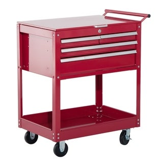 HomCom 4 Drawer Steel Rolling Tool Chest Storage Cabinet Organizer Cart - Red