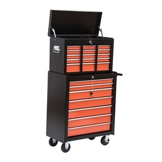 HomCom Heavy Duty Rolling Tool Chest Cabinet with Sixteen Drawers