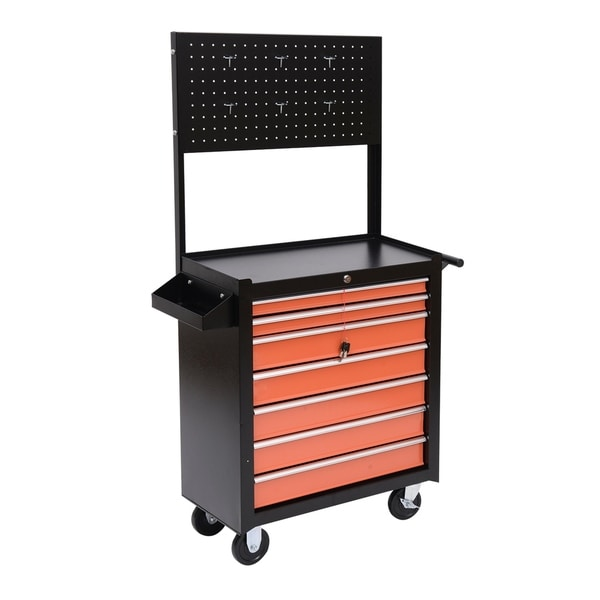 Homcom Heavy Duty Rolling Tool Chest Cabinet With Seven Drawers