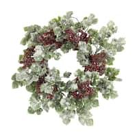 "14""D Faux Snow Ivy Berry Christmas Wreath, Snow"