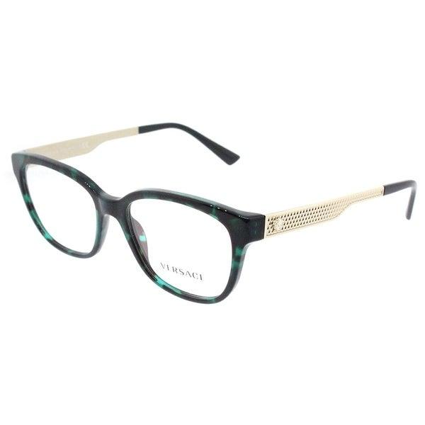 Shop Versace Square VE 3240 5076 Womens Green Havana Frame ...