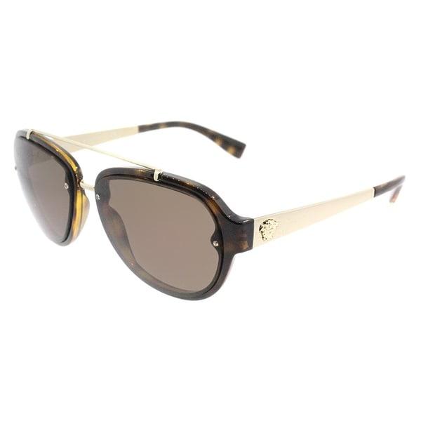 e0a4c6e2fc42 Versace Aviator VE 4327 108 73 Unisex Havana Frame Brown Lens Sunglasses