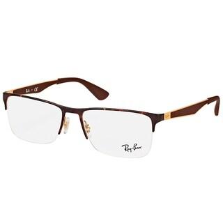 Ray-Ban Rectangle RX 6335 2917 Unisex Havana Gold Frame Eyeglasses