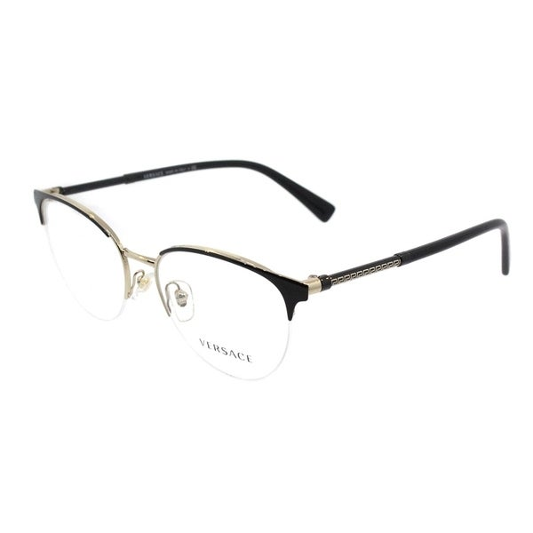 Shop Versace Round VE 1247 1252 Womens Black Pale Gold Frame ...
