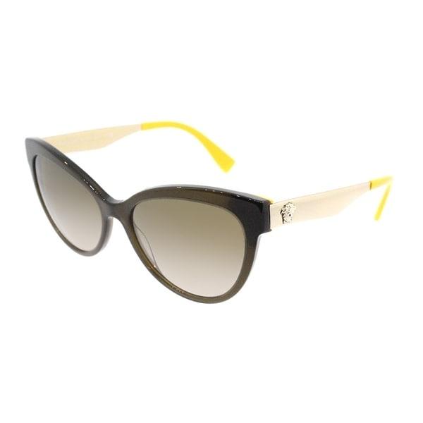 3ed0cfdf73b Versace Cat Eye VE 4338 524613 Womens Transparent Green Yellow Frame Brown  Gradient Lens Sunglasses