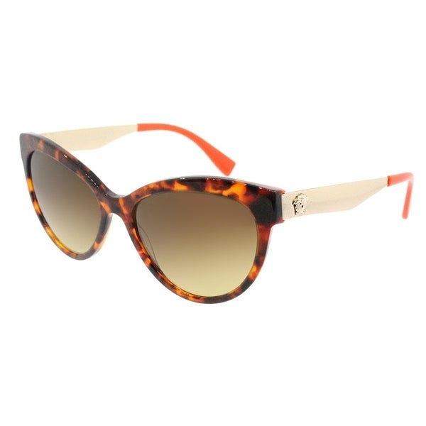 7ab6dfd02c41 Versace Cat Eye VE 4338 524413 Womens Havana Orange Frame Brown Gradient Lens  Sunglasses