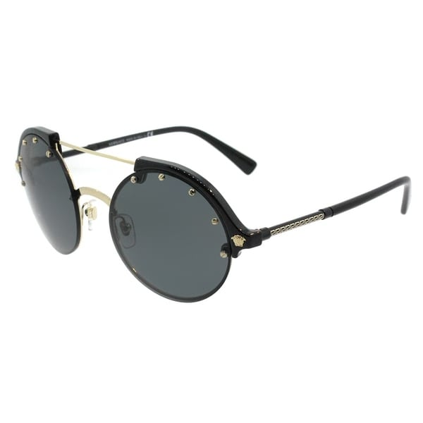 325075df8b Versace Round VE 4337 GB1 87 Womens Black Pale Gold Frame Grey Lens  Sunglasses