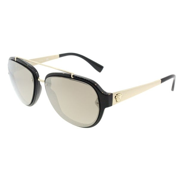efcc88682d64 Versace Aviator VE 4327 GB1 5A Unisex Black Frame Gold Mirror Lens  Sunglasses
