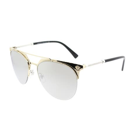 64c086dea61e Shop Versace Aviator VE 2181 12526G Unisex Pale Gold Frame Silver Mirror  Lens Sunglasses - Free Shipping Today - Overstock - 18041793
