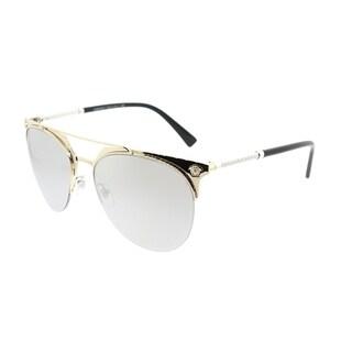 Versace Aviator VE 2181 12526G Unisex Pale Gold Frame Silver Mirror Lens Sunglasses