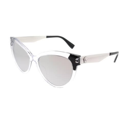 41272cd2cfc02 Versace Cat Eye VE 4338A 52436G Womens Crystal Black Frame Silver Mirror  Lens Sunglasses