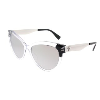 Versace Cat Eye VE 4338A 52436G Womens Crystal Black Frame Silver Mirror Lens Sunglasses