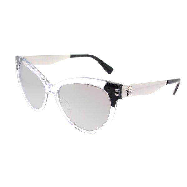 01083ed1517b2 Versace Cat Eye VE 4338A 52436G Womens Crystal Black Frame Silver Mirror Lens  Sunglasses