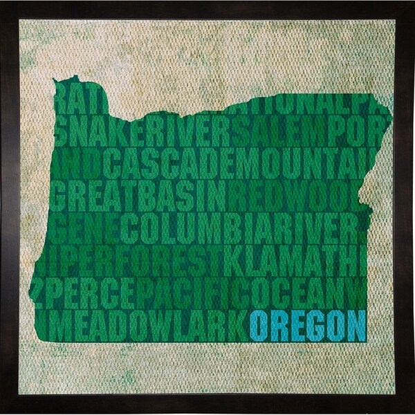 "Oregon State Words Framed Print 11.75""x11.75"" by David Bowman"