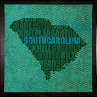 "South Carolina State Words Framed Print 11.75""x11.75"" by David Bowman"