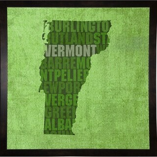 """Vermont State Words Framed Print 11.75""""x11.75"""" by David Bowman"""