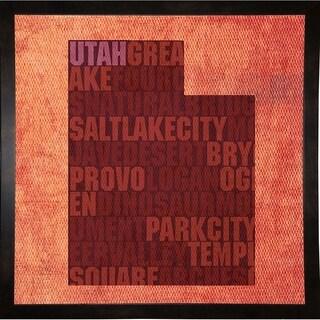 "Utah State Words Framed Print 11.75""x11.75"" by David Bowman"