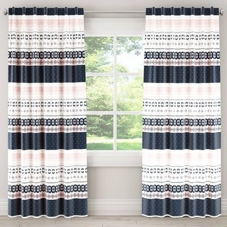 Skyline Nordic Sweater Navy Blush Blackout Window Curtain Panel