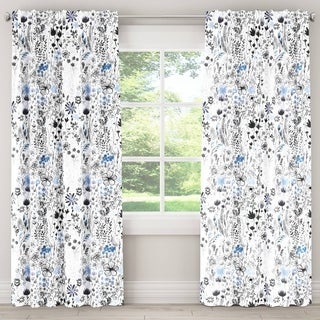 Skyline Winter Botanical Blackout Window Curtain Panel (Options: White, 84 Inches)