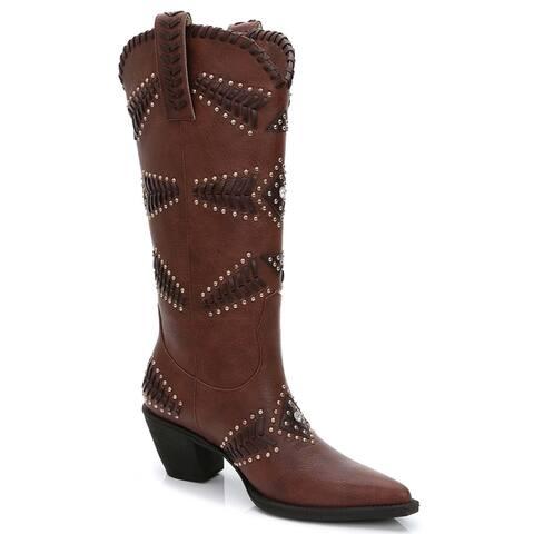 Rosewand Womens Costa Rhinestone and Stud Texture Boots