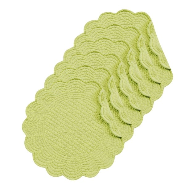 Apple Green Cotton Quilted Round Reversible Placemat Set of 6