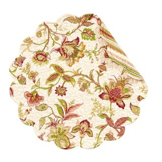 Jacobean Pink Round Quilted Placemat Set of 6