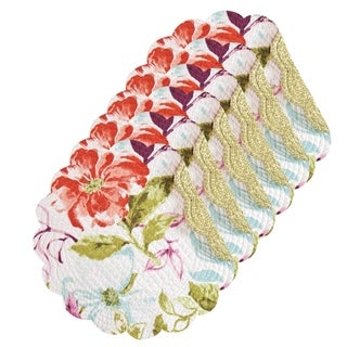 Clara Cotton Quilted Round Reversible Placemat Set of 6