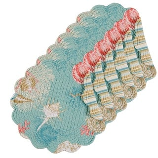 Isla de Coral Cotton Quilted Round Reversible Placemat Set of 6