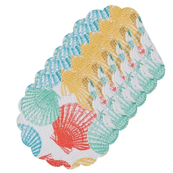 Captiva Island Cotton Quilted Round Reversible Placemat Set of 6