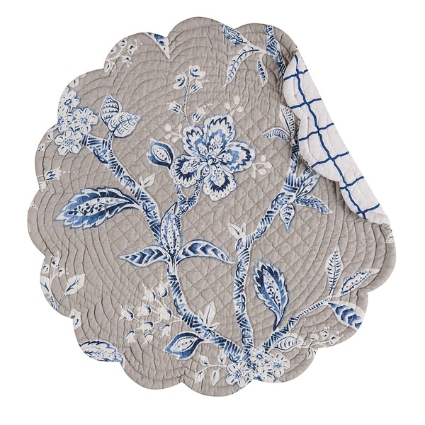 Annabelle Blue Cotton Quilted Round Reversible Placemat Set of 6