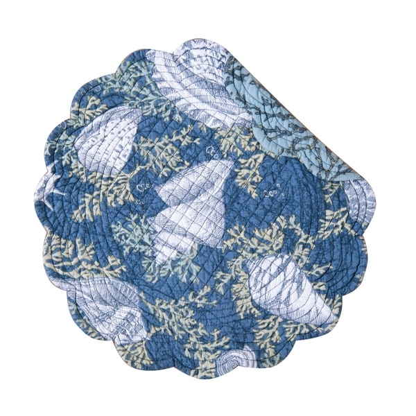 Cape Coral Cotton Quilted Round Reversible Placemat Set of 6