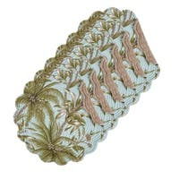 Barbados Sea Cotton Quilted Round Reversible Placemat Set of 6