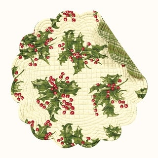 Holly Cream Round Quilted Placemat Set of 6