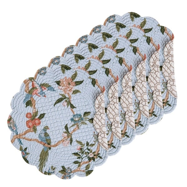 Marianne Cotton Quilted Round Reversible Placemat Set of 6