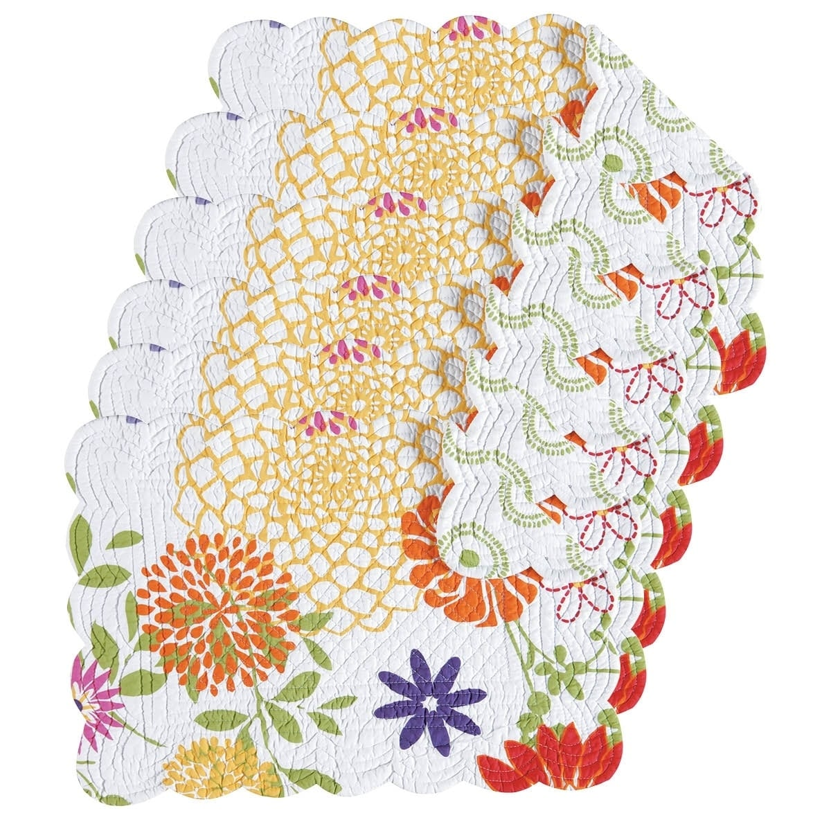 Enterprises Lilly Quilted Rectangular Placemat Set of 6, ...