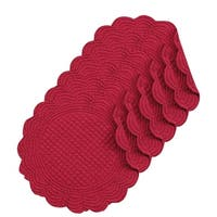 Burgundy Round Quilted Placemat Set of 6