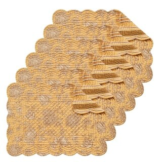 Berkeley Yellow Cotton Quilted Oblong Placemat Set of 6