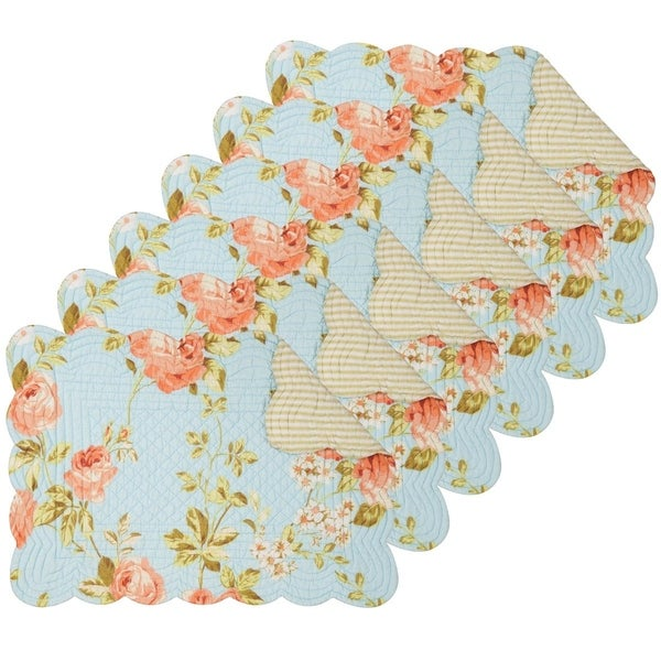 Whitney Blue Cotton Quilted Oblong Placemat Set of 6