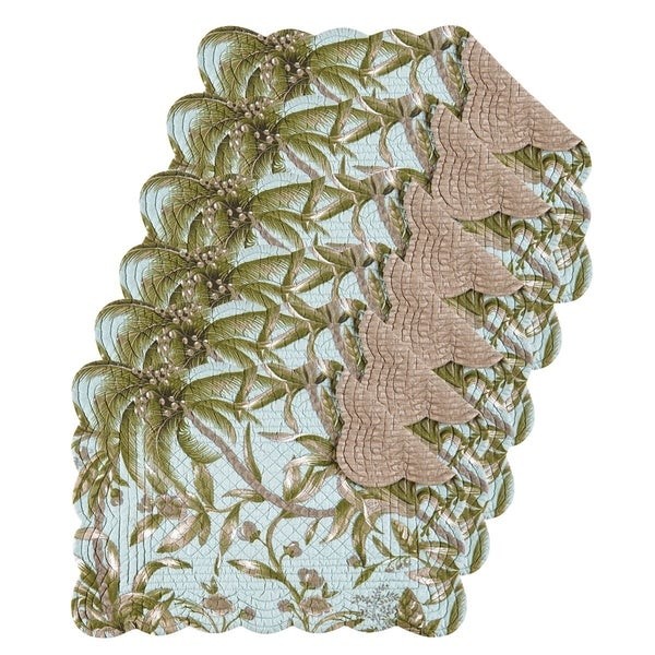 Barbados Sea Cotton Quilted Oblong Placemat Set of 6