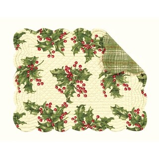 Holly Cream Quilted Rectangular Placemat Set of 6