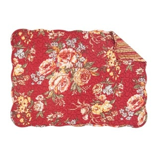 Claire Floral Cotton Quilted Placemat Set of 6 - N/A