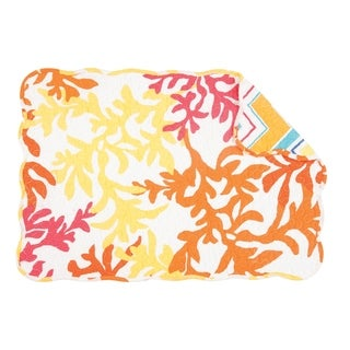 Tropical Quilted Rectangular Coral Placemat Set of 6