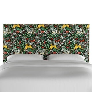 Skyline Furniture Nail Button Headboard in Frolic Evergreen